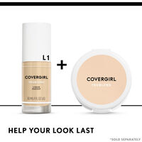 covergirl trublend foundation paired with trublend pressed powder